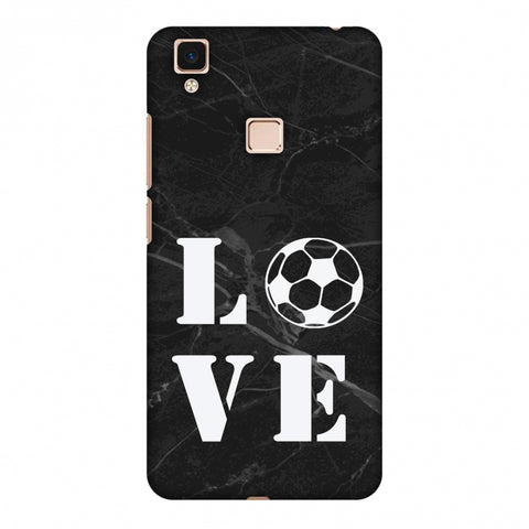 Football - Love Football - Black Marble Slim Hard Shell Case For Vivo V3 Max