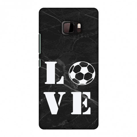 Football - Love Football - Black Marble Slim Hard Shell Case For HTC U Ultra