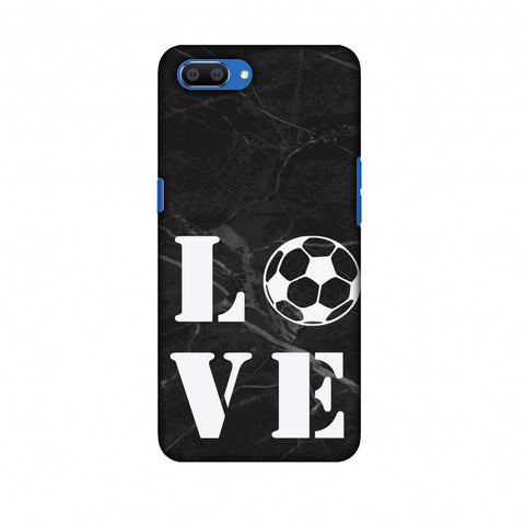Football - Love Football - Black Marble Slim Hard Shell Case For Oppo Realme C1