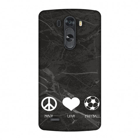 Football - Love Peace Football - Black Marble Slim Hard Shell Case For LG G4