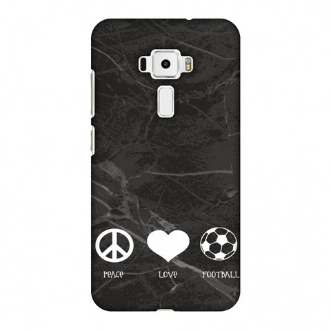 Football - Love Peace Football - Black Marble Slim Hard Shell Case For Asus Zenfone 3 ZE520KL