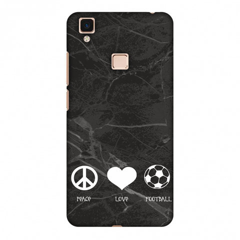 Football - Love Peace Football - Black Marble Slim Hard Shell Case For Vivo V3 Max