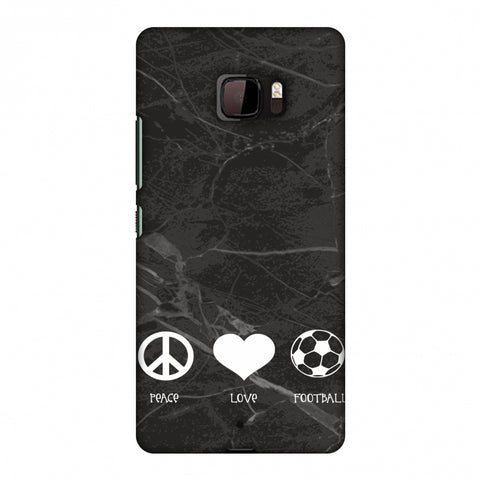 Football - Love Peace Football - Black Marble Slim Hard Shell Case For HTC U Ultra