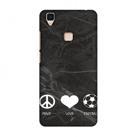 Football - Love Peace Football - Black Marble Slim Hard Shell Case For Vivo V3