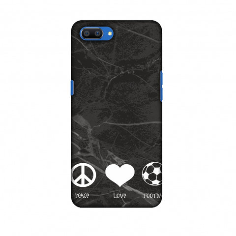 Football - Love Peace Football - Black Marble Slim Hard Shell Case For Oppo Realme C1
