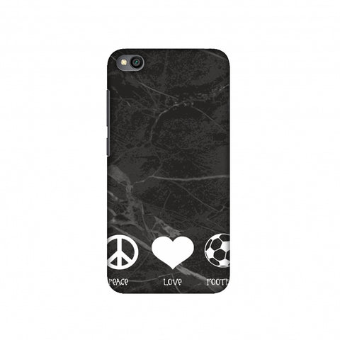 Football - Love Peace Football - Black Marble Slim Hard Shell Case For Redmi Go