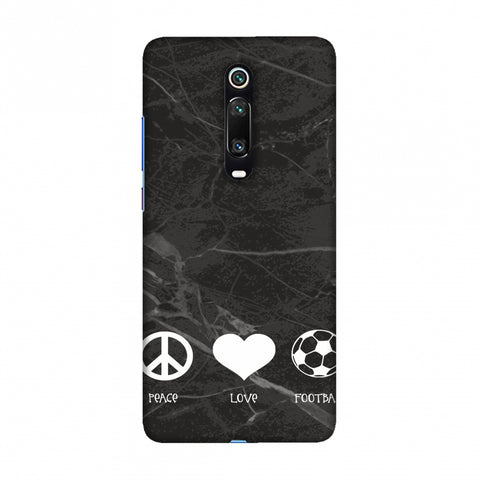 Football - Love Peace Football - Black Marble Slim Hard Shell Case For Redmi K20/K20 Pro