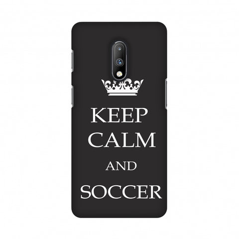 Soccer - Keep Calm And Soccer - Grey Slim Hard Shell Case For OnePlus 7