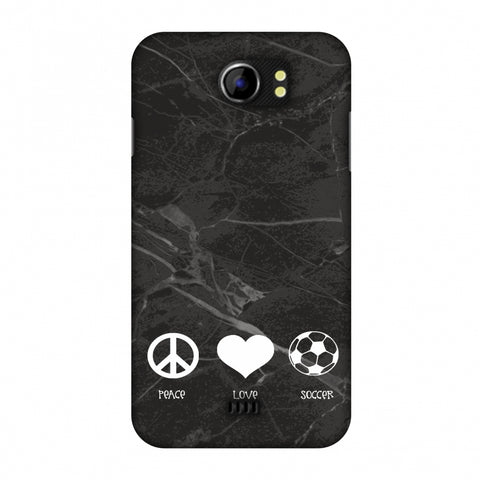 Soccer - Love Peace Soccer - Black Marble Slim Hard Shell Case For Micromax Canvas 2 A110