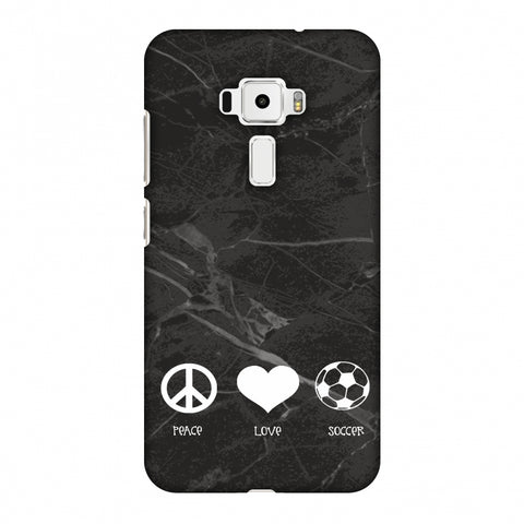 Soccer - Love Peace Soccer - Black Marble Slim Hard Shell Case For Asus Zenfone 3 ZE520KL