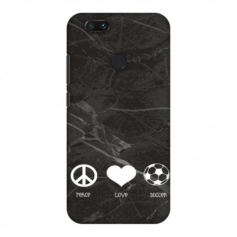 Soccer - Love Peace Soccer - Black Marble Slim Hard Shell Case For Xiaomi MI A1-5X