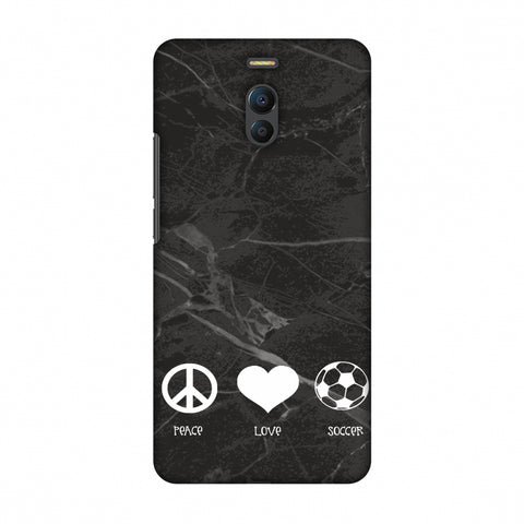 Soccer - Love Peace Soccer - Black Marble Slim Hard Shell Case For Meizu Note 6