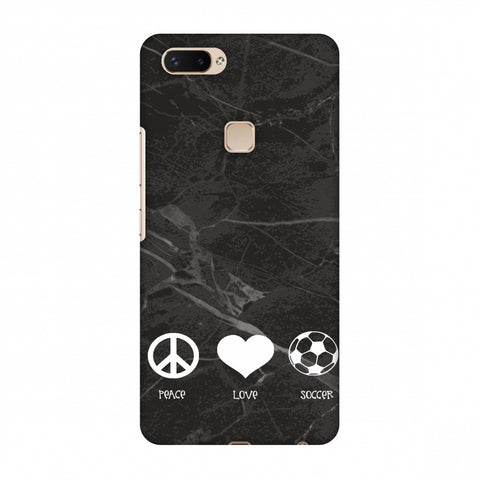 Soccer - Love Peace Soccer - Black Marble Slim Hard Shell Case For Vivo X20 Plus