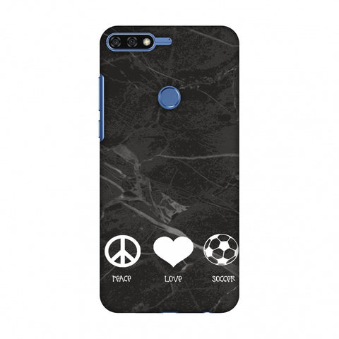 Soccer - Love Peace Soccer - Black Marble Slim Hard Shell Case For Huawei Honor 7C
