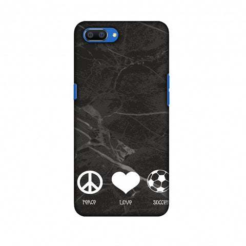 Soccer - Love Peace Soccer - Black Marble Slim Hard Shell Case For Oppo Realme C1