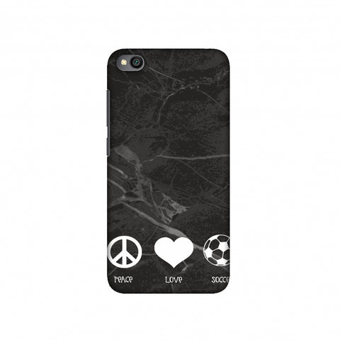 Soccer - Love Peace Soccer - Black Marble Slim Hard Shell Case For Redmi Go