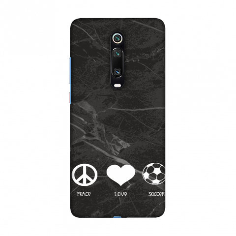Soccer - Love Peace Soccer - Black Marble Slim Hard Shell Case For Redmi K20/K20 Pro