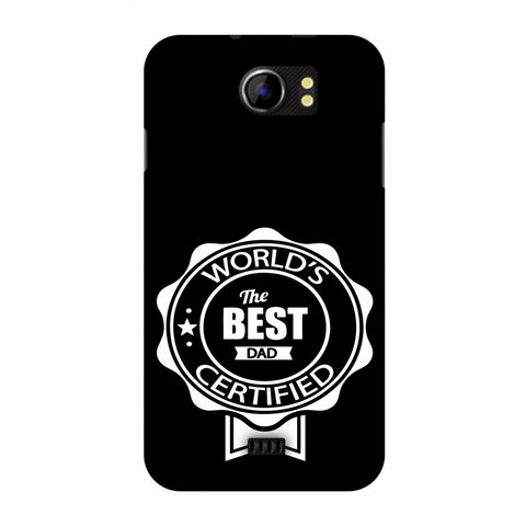 Father's Day - Certified Best Dad Slim Hard Shell Case For Micromax Canvas 2 A110