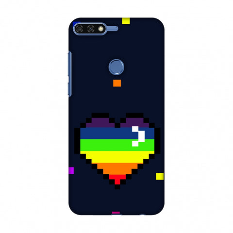 Pixelated Heart Slim Hard Shell Case For Huawei Honor 7C