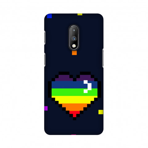 Pixelated Heart Slim Hard Shell Case For OnePlus 7