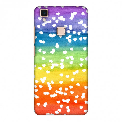Rainbow Hearts Slim Hard Shell Case For Vivo V3 Max