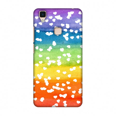 Rainbow Hearts Slim Hard Shell Case For Vivo V3