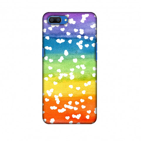 Rainbow Hearts Slim Hard Shell Case For Oppo Realme C1