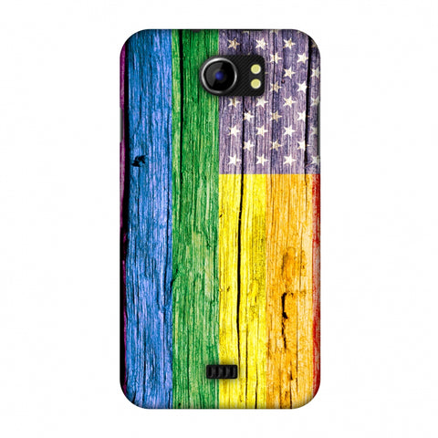 Pride Flag- Wooden Texture Slim Hard Shell Case For Micromax Canvas 2 A110