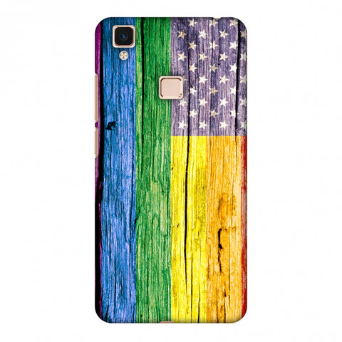 Pride Flag- Wooden Texture Slim Hard Shell Case For Vivo V3 Max