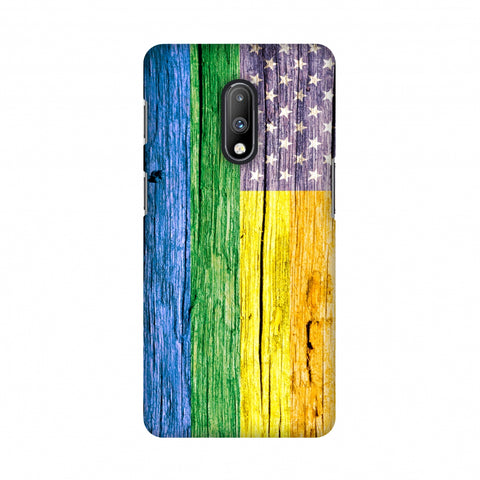 Pride Flag- Wooden Texture Slim Hard Shell Case For OnePlus 7