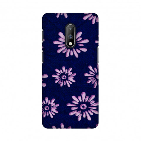 Batik Dyeing Florals - Indigo And Ivory Slim Hard Shell Case For OnePlus 7