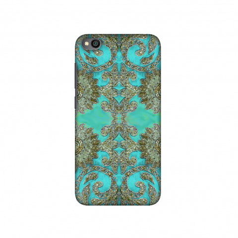 Beads And Threadwork - Aquamarine And Gold Slim Hard Shell Case For Redmi Go