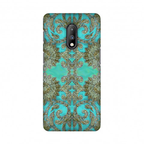 Beads And Threadwork - Aquamarine And Gold Slim Hard Shell Case For OnePlus 7