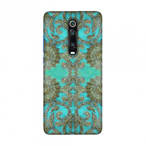 Beads And Threadwork - Aquamarine And Gold Slim Hard Shell Case For Redmi K20/K20 Pro