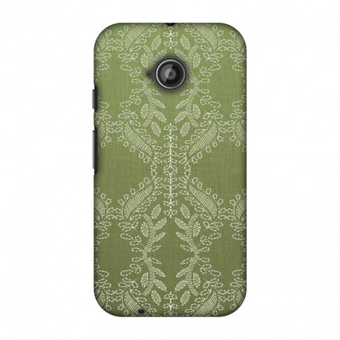 Chikankari Vines Repeats - Olive green Slim Hard Shell Case For Motorola Moto E 2nd Gen