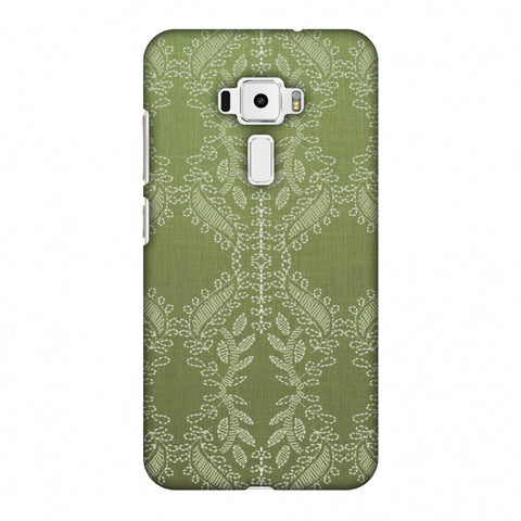 Chikankari Vines Repeats - Olive green Slim Hard Shell Case For Asus Zenfone 3 ZE520KL