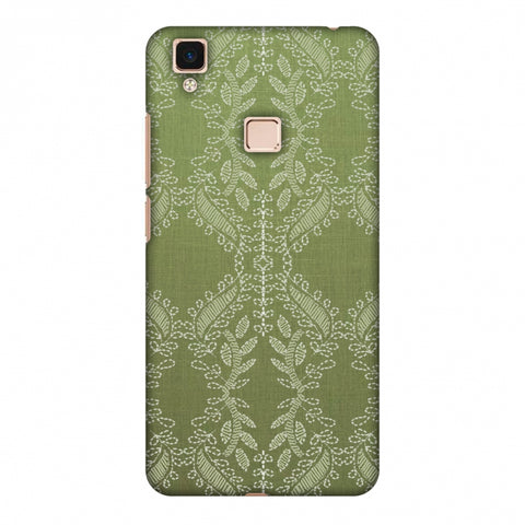 Chikankari Vines Repeats - Olive green Slim Hard Shell Case For Vivo V3 Max