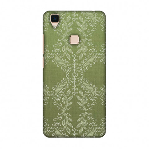 Chikankari Vines Repeats - Olive green Slim Hard Shell Case For Vivo V3
