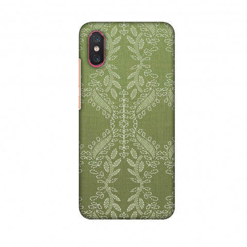 Chikankari Vines Repeats - Olive green Slim Hard Shell Case For Xiaomi Mi 8 Pro