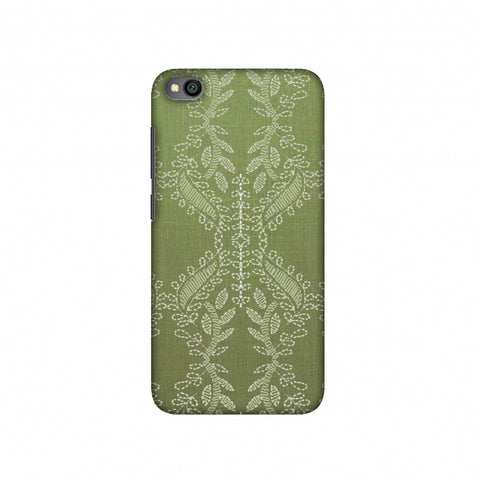 Chikankari Vines Repeats - Olive green Slim Hard Shell Case For Redmi Go