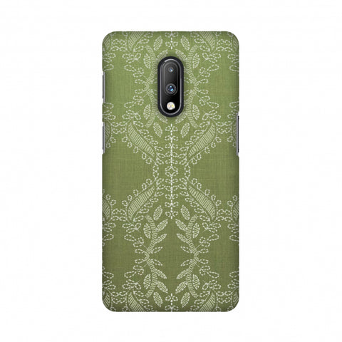 Chikankari Vines Repeats - Olive green Slim Hard Shell Case For OnePlus 7