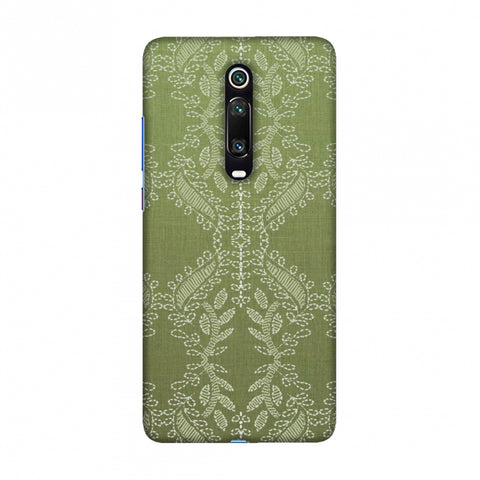 Chikankari Vines Repeats - Olive green Slim Hard Shell Case For Redmi K20/K20 Pro