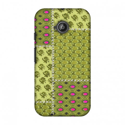 Patchwork - Woven Fabrics - Olive Green Slim Hard Shell Case For Motorola Moto E 2nd Gen