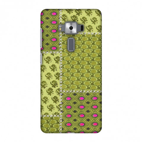 Patchwork - Woven Fabrics - Olive Green Slim Hard Shell Case For Asus Zenfone 3 Deluxe ZS570KL