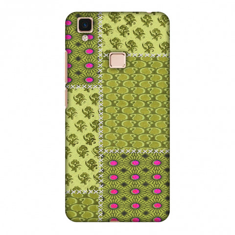 Patchwork - Woven Fabrics - Olive Green Slim Hard Shell Case For Vivo V3 Max