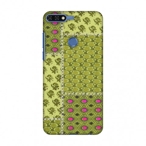 Patchwork - Woven Fabrics - Olive Green Slim Hard Shell Case For Huawei Honor 7C