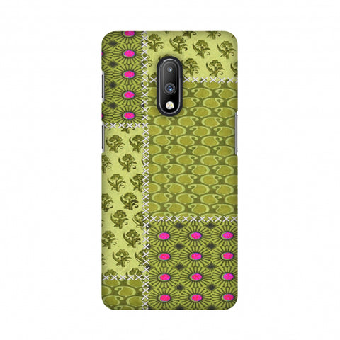 Patchwork - Woven Fabrics - Olive Green Slim Hard Shell Case For OnePlus 7