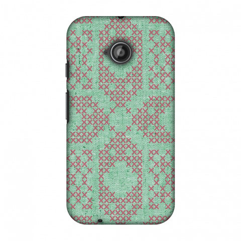 Cross Stitch Geometrics - Teal And Pink Slim Hard Shell Case For Motorola Moto E 2nd Gen