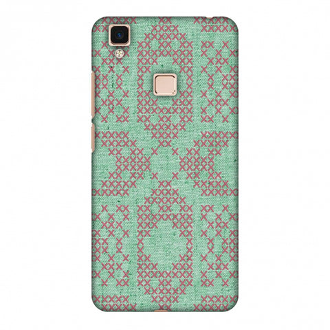 Cross Stitch Geometrics - Teal And Pink Slim Hard Shell Case For Vivo V3 Max