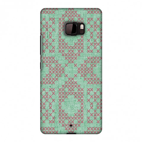 Cross Stitch Geometrics - Teal And Pink Slim Hard Shell Case For HTC U Ultra